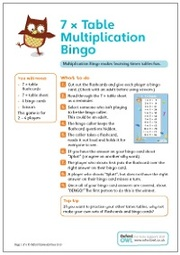 7 X Table Multiplication Bingo 2