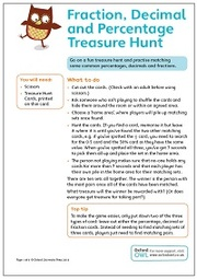 Fraction, Decimal And Percentage Treasure Hunt 2